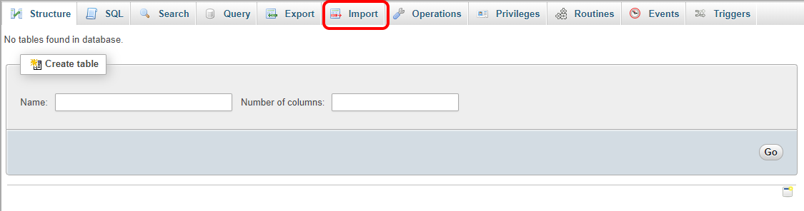 how to import a new database