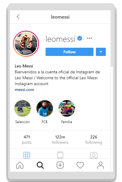 top instagram accounts - Leo Messi