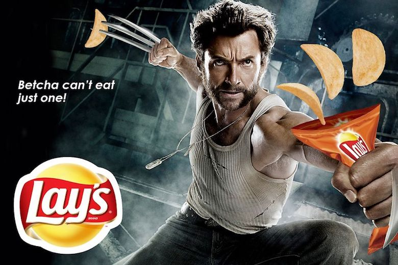 """Hugh jackman in wolverine and Lays creative advertising with """"Betcha can't eat just one!""""."""