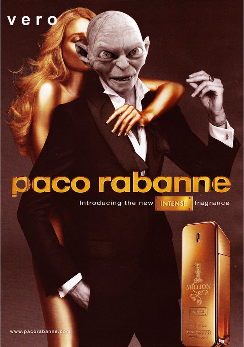 Gollum from Lord of the rings, lord of the rings the fellowship of the ring Movie and amazing stunning Paco Rabanne 1 Million perfume, We think that this guy is no longer need to be invisible, isn't he?