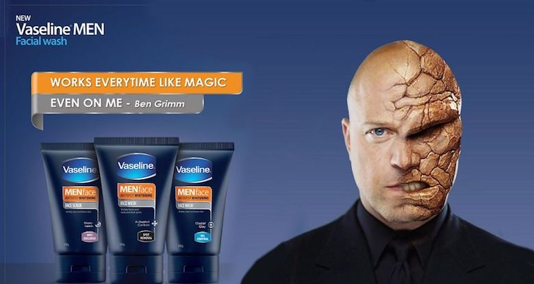 For a whole movie fantastic four 2015, we didn't know how to cure things and get him back, But this Vaseline facial wash for men did, It's Working every time like magic, Even on him -- Gen Grimm.Thing (AKA: Ben Grimm) is the affected person to transform from a normal decent guy into a walking rock.