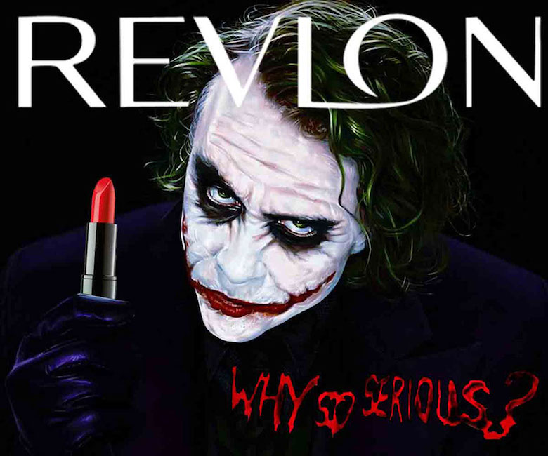 The Joker and Revlon for beauty products and lipsticks are taking a place, Why so serious?
