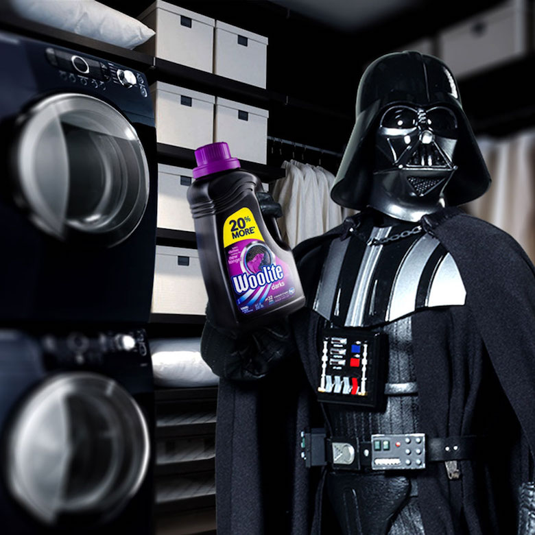 Star Wars Darth Vader and Woolite for cleaning the dark and black clothes. Everyone watched the Star Wars Movies, And Darth Vader is one of the most known characters in the movie, Well, Now he's eating burgers from McDonald's. and cleaning his clothes using Woolite.
