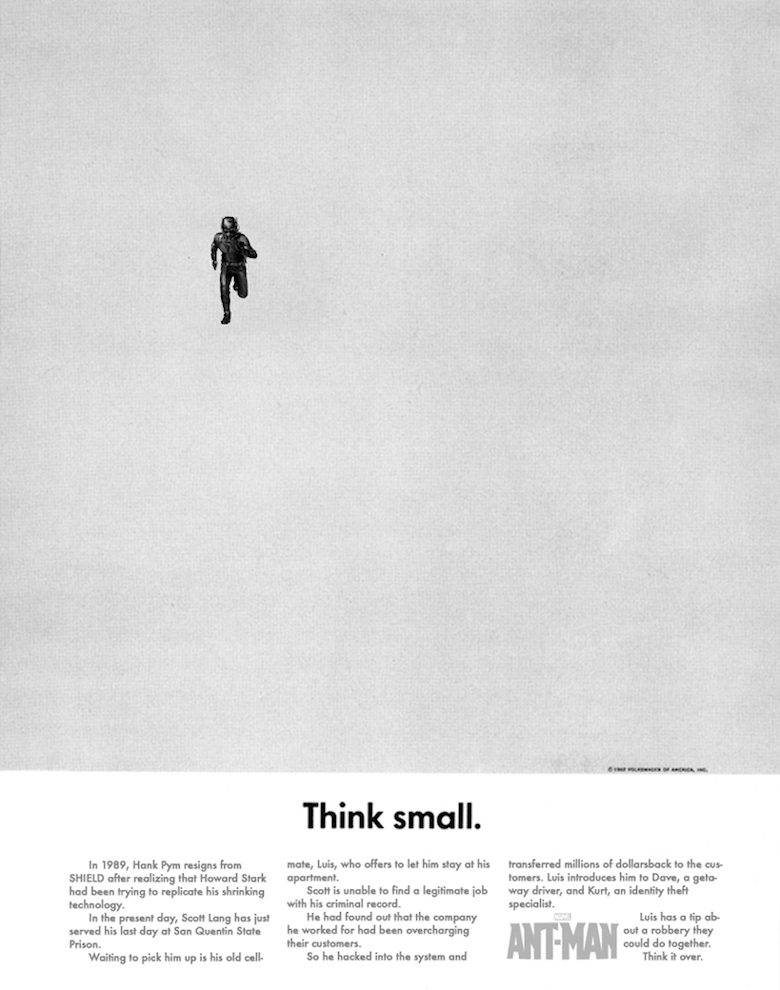 AntMan, Think small Read the caption below.