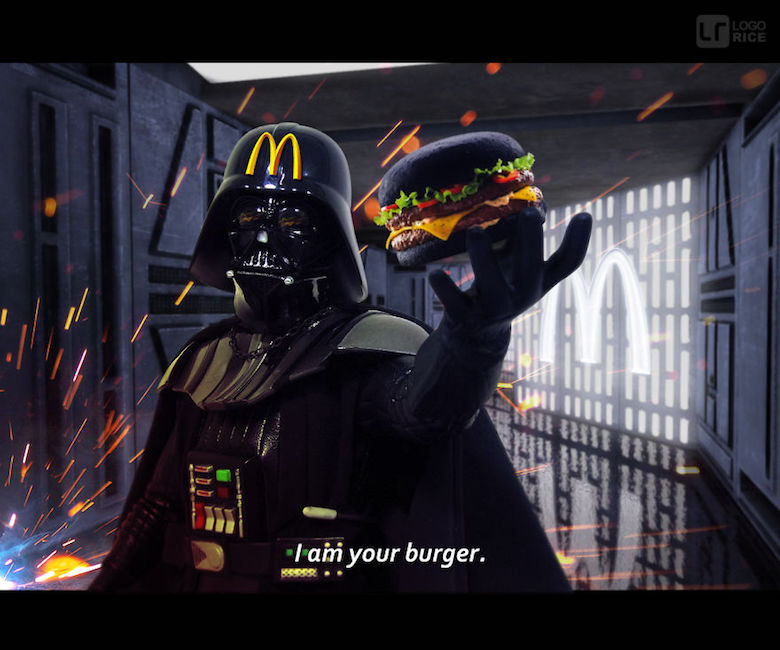 """Darth Vader and McDonald's Black Burgers, with """"I'm Your Burger""""."""