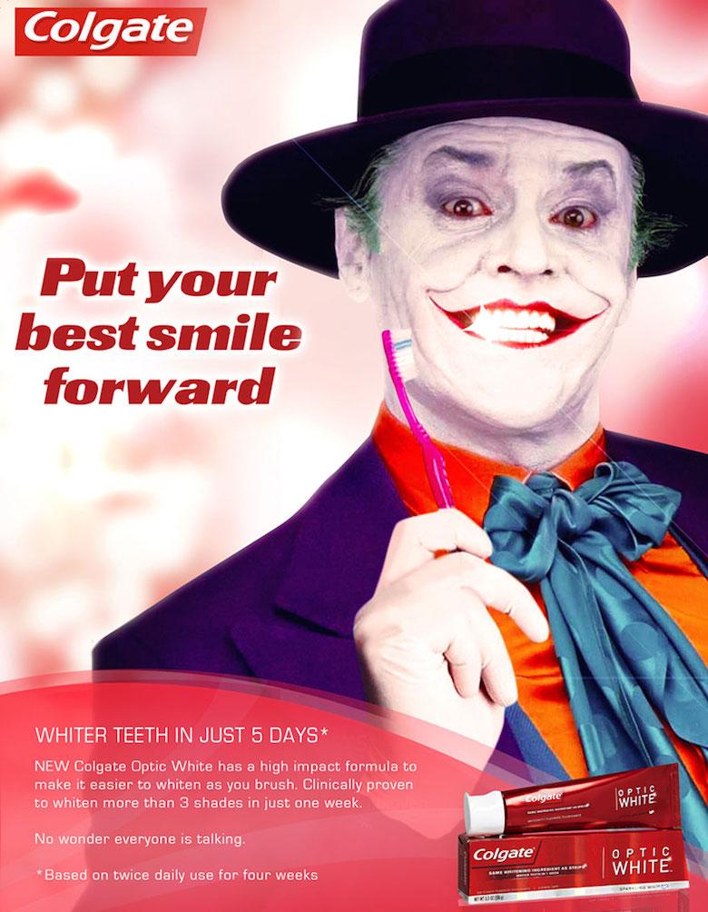 Colgate andjoker in batman Creative advertising design.