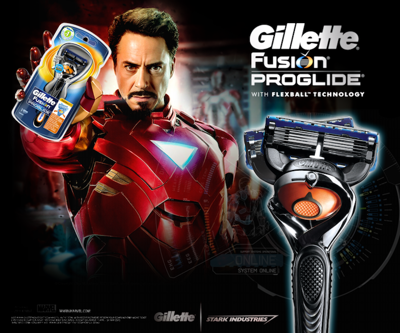 actor of iron man Tony Stark ( Robert John Downey Jr. ) and Gillette Fusion Proglide